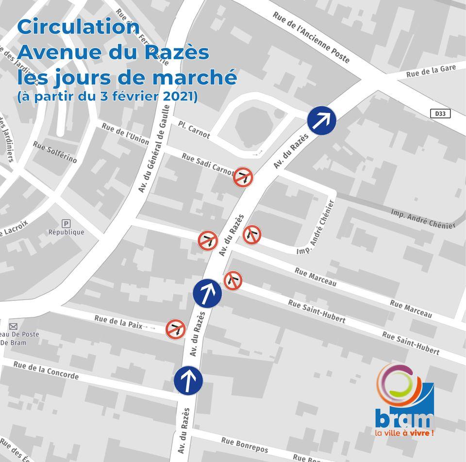 Sens de circulation Avenue du Razès - Jours de marché (tous les mercredis)